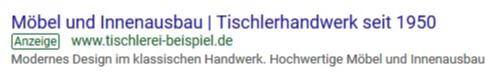 Adwords Anzeige Handwerker Tischlerei Online marketing
