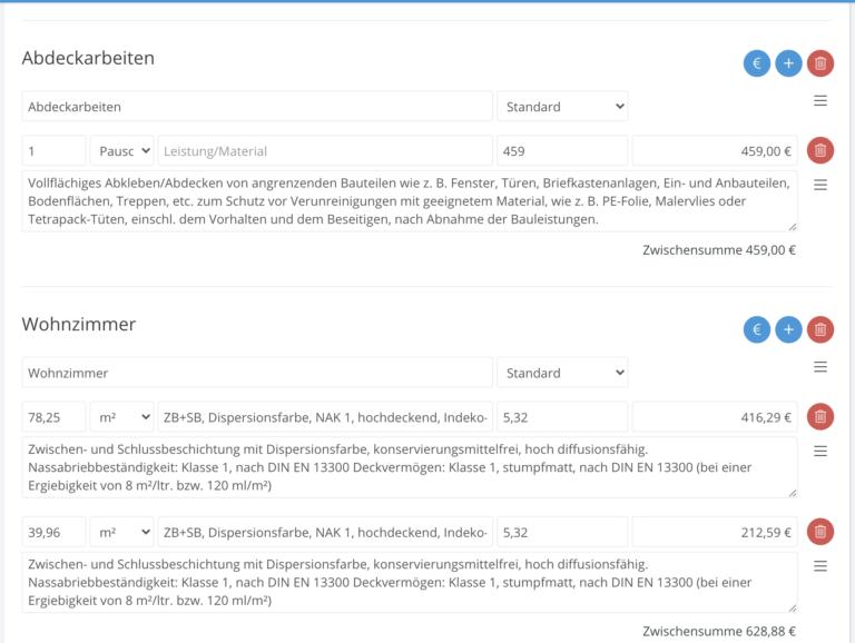 Browser Angebot Gruppen und Positionen das-programm.io