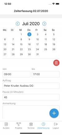 Mobil Ansicht iPhone Zeiterfassung das-programm.io